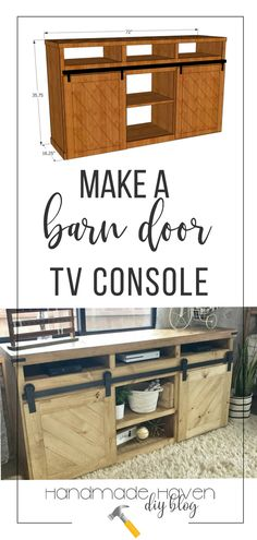 This farmhouse inspired, barn door TV console is a beautiful project. Make your own with my tutorial and woodworking plans #diyfurniture #farmhousestyle #woodworking #woodworkingprojects #woodworkingprojects #diyhome