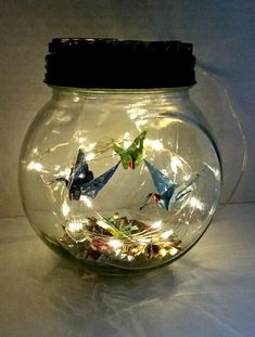 Hand-Folded Origami Cranes in Jar w/fairy lights & Origami Fans/Mothers day Gift/Unique Gift/desk Lamp/Origami mobile/Night Light/Home Decor Origami Jar, Origami Cranes, Diy Arts And Crafts, Diy Crafts For Kids, Flower Fairy Lights, Flower Fairies, Unique Night Lights, Fairy Jars, Mothers Day Crafts For Kids