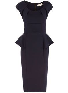 Dorothy Perkins Ink peplum tuck neck dress. Maybe a shorter hemline?