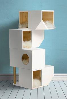 Freestanding Wooden Modular Cat House   Etsy Wooden Cat House, Cat House Diy, Diy Cat Tree, Cat Towers, Cat Condo, Cat Room, Pet Furniture, Scratching Post, Home Decor