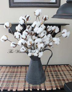 "Ships Free, 5-20"" Natural Cotton Bolls, Cotton Boll Stems, Cotton Branches, 2nd Anniversary, Farmhouse Decor, Wedding Decor, Southern Cotton"