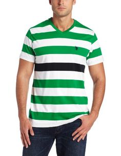 U.S. Polo Assn. Men's Striped Short Sleeve V-Neck, Absolute Green, Medium Promotion - http://mydailypromo.com/u-s-polo-assn-mens-striped-short-sleeve-v-neck-absolute-green-medium-promotion.html