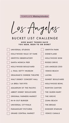 Top things to do in Los Angeles - Los Angeles Bucketlist - Story Template - kelseyinlondon - Kelsey Heinrichs - What to do in Los Angeles - Where to go in Los Angeles - top places in Los Angeles Travel Checklist, Travel List, Holiday Checklist, Baby Travel, Restaurants In Paris, Voyage Usa, List Challenges, Destination Voyage, Instagram Story Template