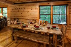 Ellijay cabin rental - Large, custom built table. The bench sits lots of kids comfortably.