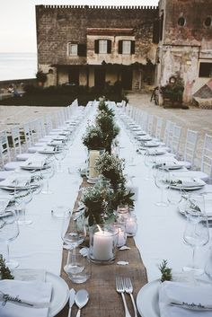 White and green reception table decor