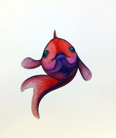 Red fish. Watercolor pencil & ink.