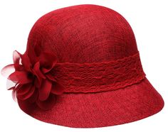 Women's Gatsby Linen Cloche Hat With Lace Band And Flower(BLACK)