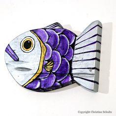 Fish Decor Handmade Silver and Purple Barn Wood Folk by TaylorArts