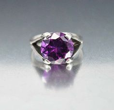 Vintage Modernist Sterling Silver Purple Sapphire Ring  Vintage Jewelry