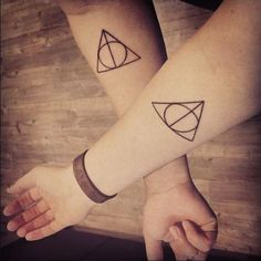 Pin for Later: 20 Geeky Tattoos You'll Be Dying to Get With Your Best Friend The Deathly Hallows