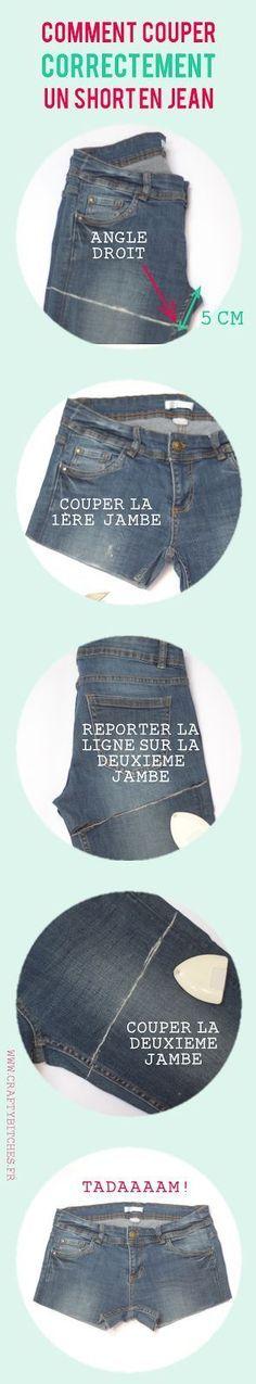 Comment couper un short en jean (sans faire de massacre). This is a bit short for me, but good info on the angle. Diy Shorts, Diy Couture, Couture Sewing, Couture Vintage, Diy Clothing, Sewing Clothes, Diy Fashion, Womens Fashion, Fashion Tips