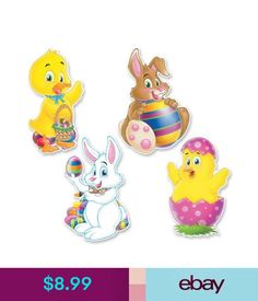 Balloons, Decorations Easter Party Supplies Cutouts 4 Pack Decoration Easter Eggs Rabbit Chicken Duck #ebay #Home & Garden