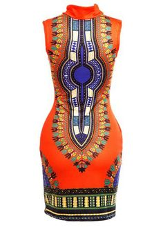 Orange Yellow African Dashiki Print Bodycon Dress