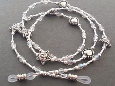 Glasses ChainGlasses lanyardBeaded glasses by guardianangellanyard Pearl Beads, Crystal Beads, Crystals, Engraved Bracelet, Silver Charms, Clear Crystal, Beaded Necklace, Just For You, Lanyards
