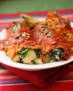 Vegan Potato Chard Enchiladas..yes, please.