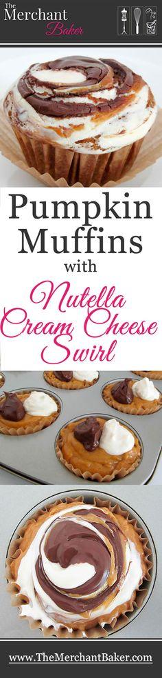 Pumpkin Muffins with Nutella Cream Cheese Swirl