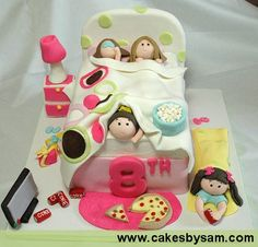 Wow! So much detail in this sleepover party cake!