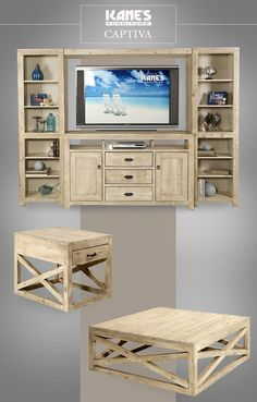 """Do you ever feel like your living room is missing something? Perhaps some rustic pieces will liven up your space! The Captiva comes in azure and, as featured, a distressed white finish. The 66"""" TV console has a bottom bridge for storage and two side bookcases to open up your storage options. The chair-side and cocktail tables tie it all together for a cohesive look. Try on a new look this New Year with Kane's!"""