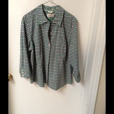 Woman petite blouse Pretty green plaid top where the sleeves lcuffed up or down in a little pocket in the front of the shirt Talbots Tops
