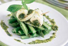 Roulés de sole au pesto et asperges vertesVoir la recette des Roulés de sole au pesto et asperges vertes >>