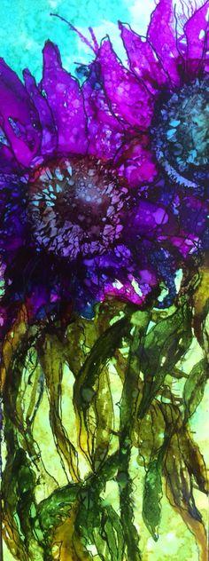 Alcohol ink on yupo 22x 8 cm Made by Jenny 28-6-2015