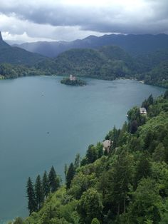 Lake Bled in the cloudy sky in Slovenia situated in Julian Alps Mts