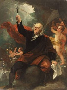 This dramatic painting by Benjamin West commemorates the 1752 experiment in Philadelphia in which Benjamin Franklin demonstrated that lightning is a form of electricity.