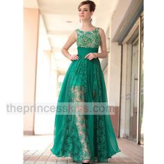 PRINCESS KISS A-LINE Green transparent wear embroid tulle formal dresses PK30650 - Prom Dresses - Occasions