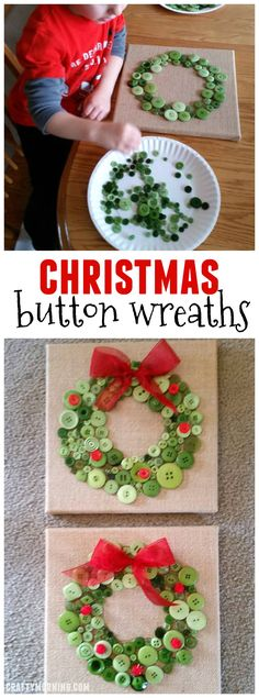Christmas button wreaths for a kids craft...sooo cute!! These canvases make great gifts. Find more DIY here ---> http://fabulesslyfrugal.com/category/frugal-living/diy/