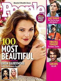 Drew Barrymore, 2007 - on People magazine Most Beautiful Actresses Cover