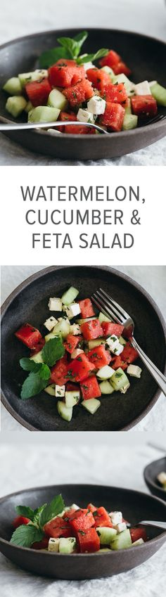 This watermelon, cucumber and feta salad is the perfect spring or summer salad as it's cool and refreshing.
