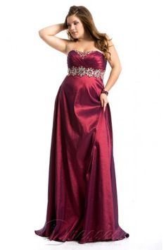 Unique Plus Size Floor-length Sweetheart Burgundy Taffeta Dress