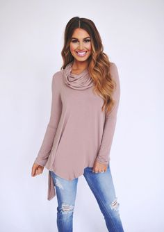 Dottie Couture Boutique - Cowl Tunic- Taupe , $34.00 (http://www.dottiecouture.com/cowl-tunic-taupe/)