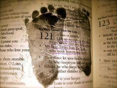 Baby's footprints imprinted on a favorite book or scripture.