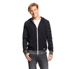 Men's Fleece Full Zip Raglan Hoodie Black XL - Bkc
