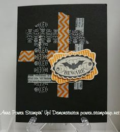 Stampin' Up! ... handmade Halloween card by  Stamps, Paper, Ink Create! ... woven strips of Halloween washi tape on black card ... fun layered sentiment block ...