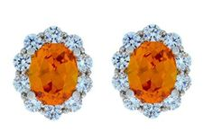 8 Ct Citrine & Zirconia Oval Stud Earrings .925 Sterling Silver Rhodium Finish