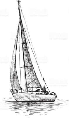 Figure Drawing Tutorial Vector drawing of a sailing boat. - Vector drawing of a sailing boat. Nautical Drawing, Sailboat Drawing, Sailboat Painting, Sailboat Art, Segel Tattoo, Boat Sketch, Ship Sketch, Sailing Tattoo, Ship Drawing