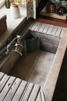 The teak sink in the Butler's Pantry at Dunham Massey, Cheshire