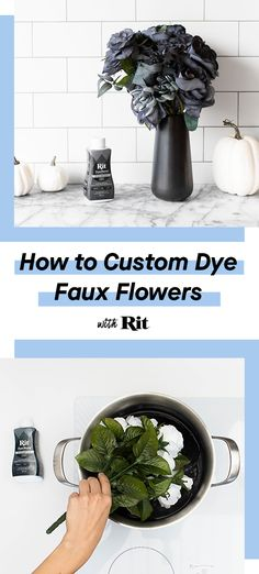 Faux flowers are an inexpensive way to keep your home decorated throughout the year. Now you can customize the color with Rit. Informations About Custom Dye Faux Flowers Pin You can easily use my prof Dye Flowers, Faux Flowers, Paper Flowers, Diy Arts And Crafts, Diy Craft Projects, Fun Crafts, Craft Ideas, Diy Halloween Decorations, Halloween Crafts