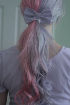Pink and Lilac cruella hair with a lilac bow