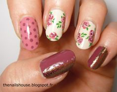 purple, pink and roses nail art