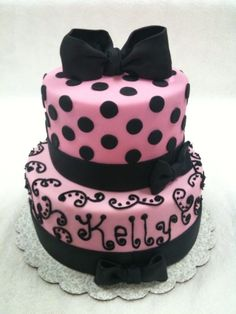 Pink and Black birthday cake By SpecialtyCakesbyKelli on CakeCentral.com