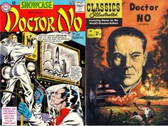 """The official comic book adaption of the James Bond movie, """"Dr. No"""". Showcase #43, April 1963 (DC Comics) Cover by Bob Brown. This is a reprint of the original adaptation of the [British] Classics Illustrated #158A issue."""