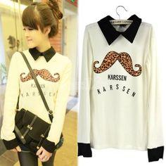 Korea Women's Big Beard Leopard Print Turndown Collar Long Sleeve T-Shirt Top Blouse