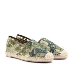 ❌24 hour sale. Vday ❌ EURO 40. But fits a true size 9. Possibly a 9.5 comes with box. Never worn.  Lace, No Appliqués, Solid Colour, Round Toeline, Rubber Sole, No Heel. Textile Fibres, Soft Leather. Color: Military green  list iconRomantic lace informs these elegant espadrilles from Valentino list iconLace upper, classic espadrille styling, woven toe pack, lace upper with leather trim, tonal stitching, raffia trim, rubber sole list iconStyle with a ruffle mini dress and a clutch or…