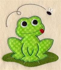 Embroidery Stitches Designs Machine Embroidery Designs at Embroidery Library! Quilt Baby, Baby Quilt Patterns, Applique Patterns, Machine Embroidery Designs, Diy Embroidery, Frog Applique Pattern, Applique Designs Free, Felt Patterns, Embroidery Stitches
