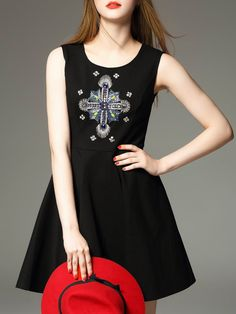 Buy it now. Black Backless Sleeveless Beading A-Line Dress. Black Round Neck Sleeveless Polyester A Line Short Fabric has no stretch Summer Casual Day Dresses. , vestidoinformal, casual, camiseta, playeros, informales, túnica, estilocamiseta, camisola, vestidodealgodón, vestidosdealgodón, verano, informal, playa, playero, capa, capas, vestidobabydoll, camisole, túnica, shift, pleat, pleated, drape, t-shape, daisy, foldedshoulder, summer, loosefit, tunictop, swing, day, offtheshoulder, smo...