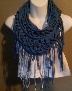 blue versatile fringed tshirt scarf vest. by TeesTransformations, $17.00