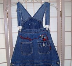 Authentic Disney Sz XL Women's Mickey Mouse Denim Blue Jean Bib Overalls #Disney #BibOveralls